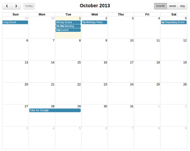 Calendar Extender Design : Calendario bootstrap con jquery